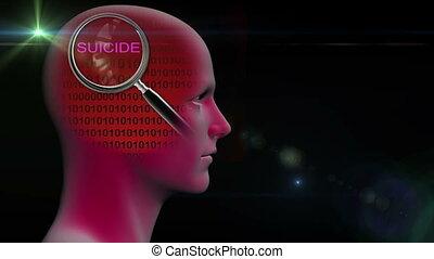 verre mot, magnifier, profil, grand plan, homme, suicide