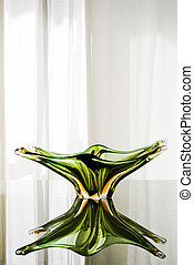 verre, murano, vert, plaque