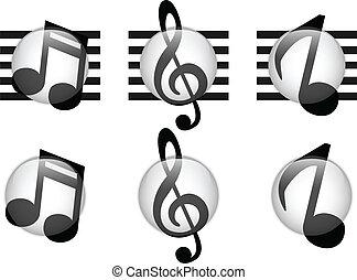 verre, notes, ensemble, musique, bouton
