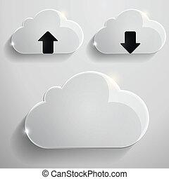 verre, nuages