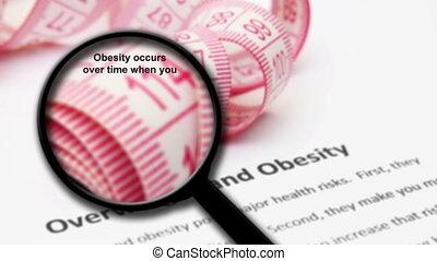 verre, obésité, concept, excès poids, magnifier