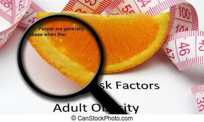 verre, obésité, concept, magnifier