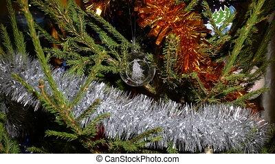 verre, ornement, arbre noël