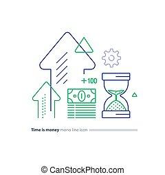 verre, paquet, investissement, argent, sable, ligne temps, concept, icônes, espèces, financier