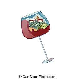 verre, peu, illustration, maisons, vecteur, arrière-plan., blanc, distance., vin