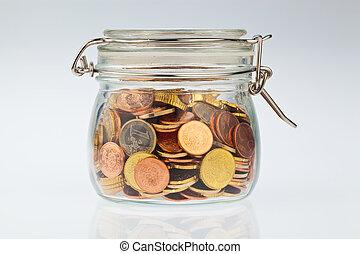 verre, pièces, euro