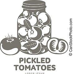 verre, pickles, pot, illustration, plat