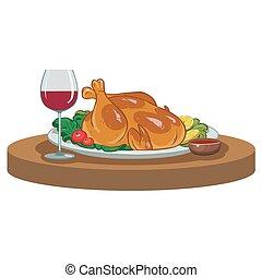 verre, poulet, cuit, vin