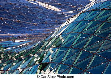 verre, résumé, architecture moderne, toit