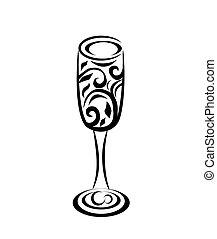 verre, résumé, champagne