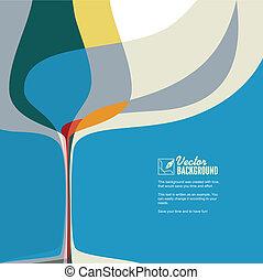 verre., résumé, silhouette, illustration, vin