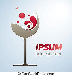 verre, résumé, symbole, vin