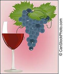 verre, raisins rouges, vin