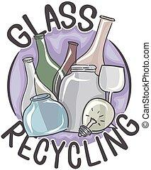 verre, recyclage, illustration, icône