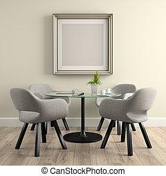 verre, rendre, partie, intérieur, table, 3d