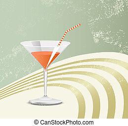 verre, retro, cocktail