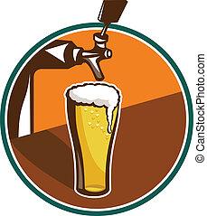 verre, robinet bière, retro, pinte