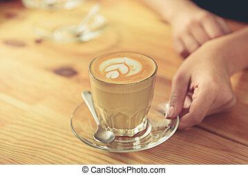 verre, savoureux, surface, boisé, latte
