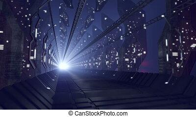 verre, sci-fi, couloir, avenir, 4k, loop-able