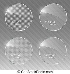 verre, set., vecteur, bannière, illustration.