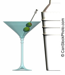 verre, shaker, martini