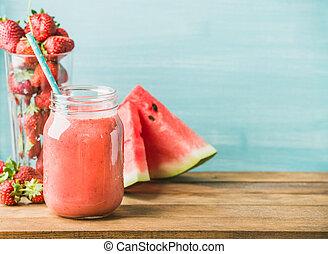 verre, smoothie, mélangé, pot, paille, fruit, fraîchement,...
