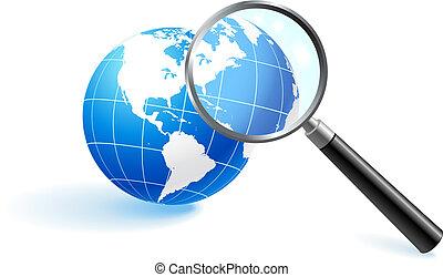 verre, sous, globe, magnifier