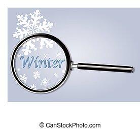 verre, sous, magnifier, hiver