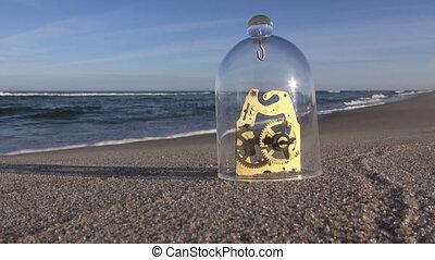 verre, sous, plage, détail, horloge