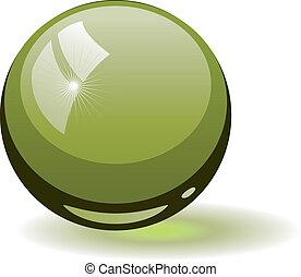 verre, sphère verte