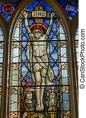 verre, taché, fenêtre, crucifixion