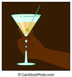 verre, tenant main