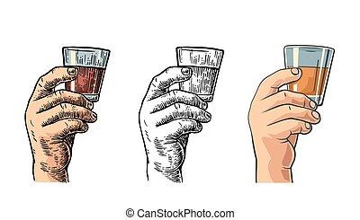 verre, tequila, mâle, tenant main