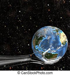 verre, tient, la terre, main, espace