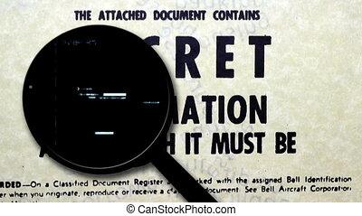 verre, top secret, document, magnifier