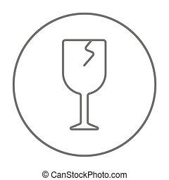 verre, toqué, ligne, icon.