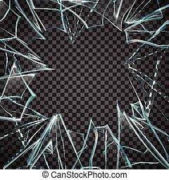 verre, transparent, cassé, cadre