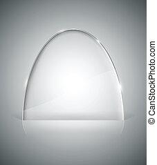 verre, transparent, elliptique, stand