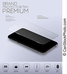 verre, transparent, protecteur, écran, bouclier, verre.