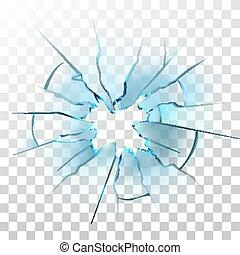 verre, vecteur, cassé, balle, cassé, fenêtre, trou