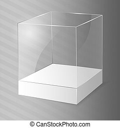 verre, vecteur, illustration., cube.