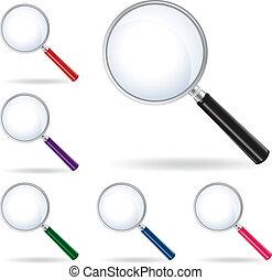 verre, vecteur, magnifier, meute, isolé