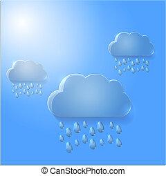 verre, vecteur, nuages, illustration