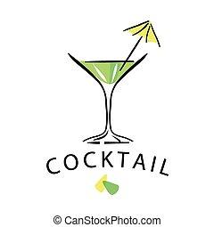 verre, vecteur, parapluie, cocktail, logo