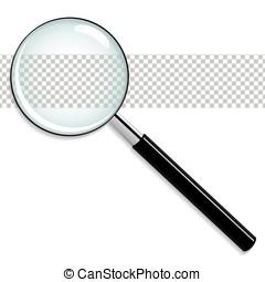 verre, vecteur, transparent, magnifier