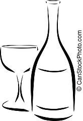 verre vin, bouteille