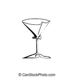 verre vin, martini, vecteur, stylisé