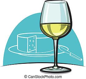 verre vin, sec, vin, blanc