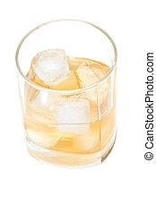 verre, vue, au-dessus, whisky