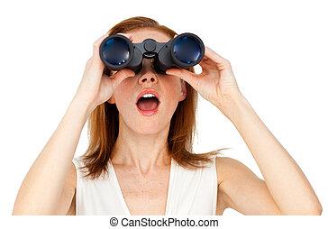 verrekijker, door, het kijken, businesswoman, dromerig